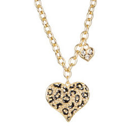 Gone Wild Animal Print Heart Necklace