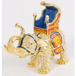 24K Gold Elephant Crystal Trinket Box