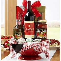 Piazza Rosso Sangiovese Wine and Pasta Colander Gift Basket