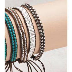Knotted Bracelet Set Silver