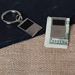 Benton Silver and Carbon Money Clip and Key Ring Gift Set