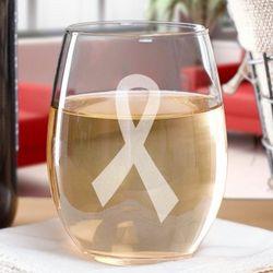 Awareness Ribbon Stemless Wine Glass