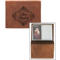 Personalized Damask Framed Leather Prayer Card Holder