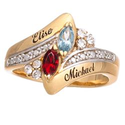 Couple's Crystal Marquise Birthstone & Name Ring