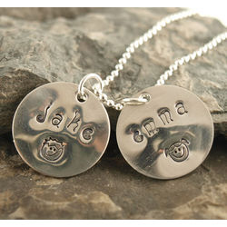 Momma's Faces Personalized Hand Stamped Necklace