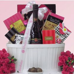 Sweet & Trendy Rosa Regale Birthday Gourmet and Wine Gift Basket