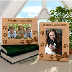 Personalized Doggie Bones Wooden Picture Frame