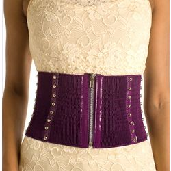 Studded Zip Up Wide Obi Fashion Belt