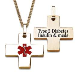 Gold Stainless Steel Engraved Medical Alert Cross Necklace