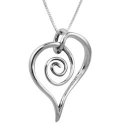 Sterling Silver Spiral Mother's Heart Pendant