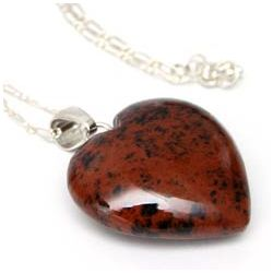 Petal Heart Mahogany Obsidian Necklace