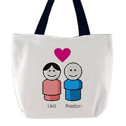 Plastic Toy Couple Tote Bag