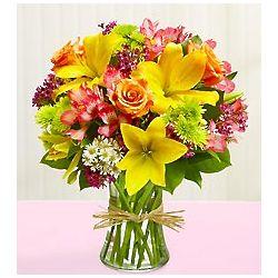 Sympathy Floral Arrangement in Clear Vase