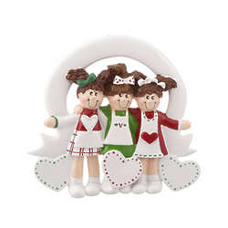 Three Friends or Sisters Christmas Ornament