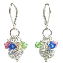 Pave Ball Multicolor Crystals Earrings