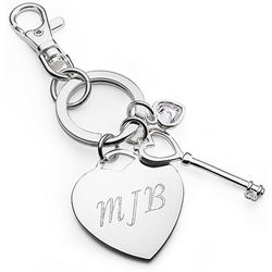Key to My Heart Chrome Keychain