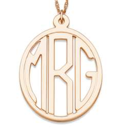 14K Gold Over Sterling Tailored Oval Monogram Necklace