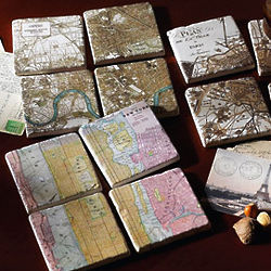 Antique City Map Coasters