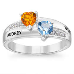 Couple's Sterling Silver Double Heart Birthstone Ring