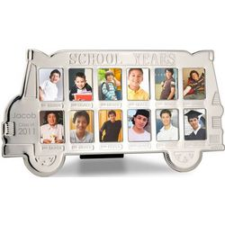 School Years Silver-Plated Bus Photo Frame