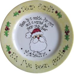 Dear Santa Hand Painted Santa Plate