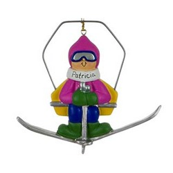Female Skier on Chairlift Personalized Christmas Ornament