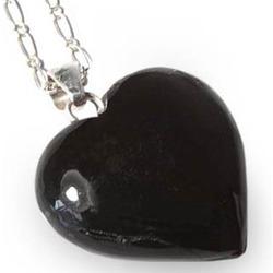 Obsidian Black Petal Heart Necklace