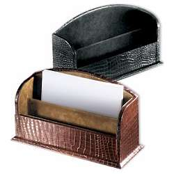 Crocodile Design Leather Letter Holder