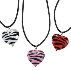 Animal Print Puff Heart Necklaces