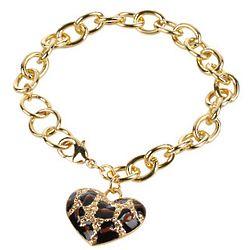 Leopard Heart Charm Bracelet