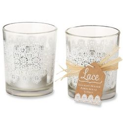 Lace Frosted Glass Tealight Holders