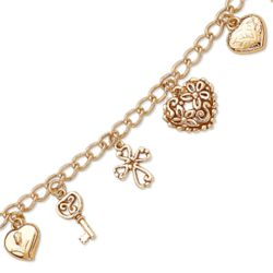 Love is in the Air Goldtone Charm Bracelet