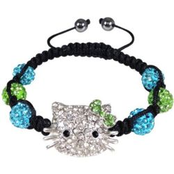 Green and Blue Kitty Shamballa Bracelet