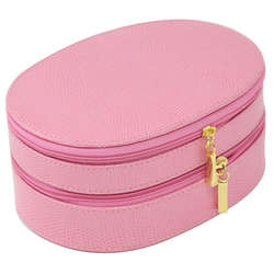 Pink Lizard Embossed Leather Jewelry Case