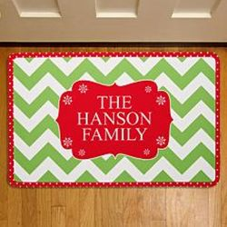 Chevron Print Personalized Christmas Doormat