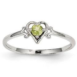 14 Karat White Gold Peridot August Birthstone Heart Promise Ring