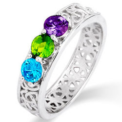 3 Stone Celtic Design Custom Birthstone Ring