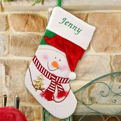 Snowman Stocking with Embroidered Name