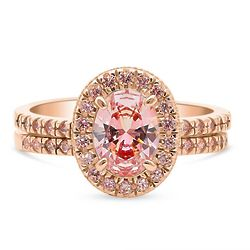 Rose Gold-Plated Halo Ring Set with Swarovski Zirconia Oval Cut