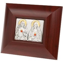 Sacred Heart & Immaculate Dark Wood Plaque