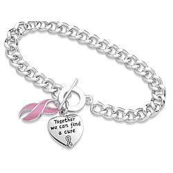 Silver Plated Breast Cancer Awareness Bracelet