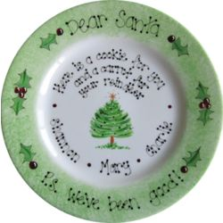 Dear Santa Christmas Tree Hand Painted Plate