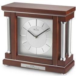 Bulova Silver Mahogany Column Clock