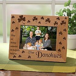 Personalized Irish Shamrock Engraved Wood Picture Frame