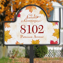 Autumn Greetings Personalized Yard Stake