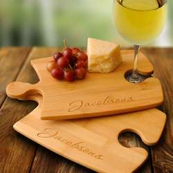 Personalized Bamboo Puzzle Cutting Board Set