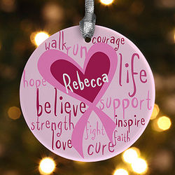 Love Life Personalized Breast Cancer Awareness Ornament