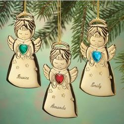 Personalized Birthstone Angel Christmas Ornament