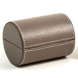 Gray Leather Double Compartment Jewelry Case
