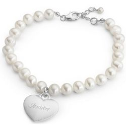 Pearl Bracelet with Brushed Sterling Silver Heart Charm